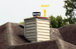 Chimney Cap rusting leaking needs repair Jacksonville FL